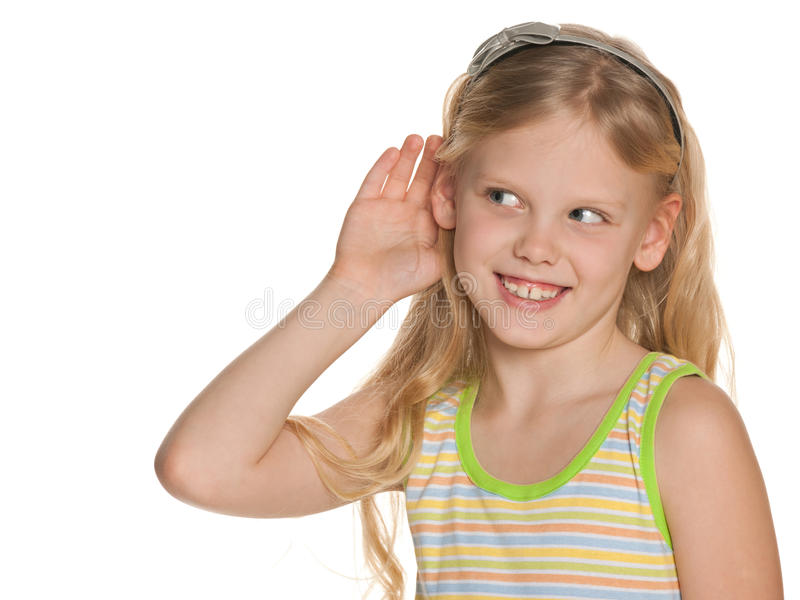 young girl listening to something stock photo   image of