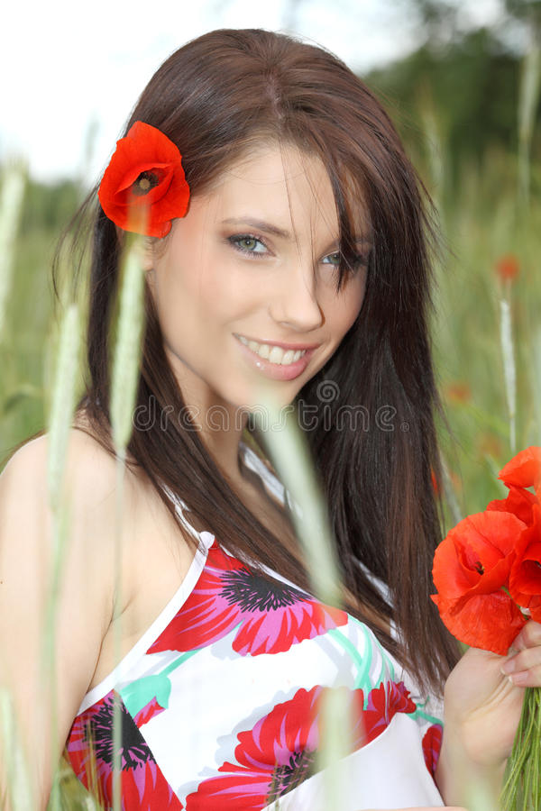 Download Young Girl With Long Hair In Poppies Field Stock Image - Image: 9778411