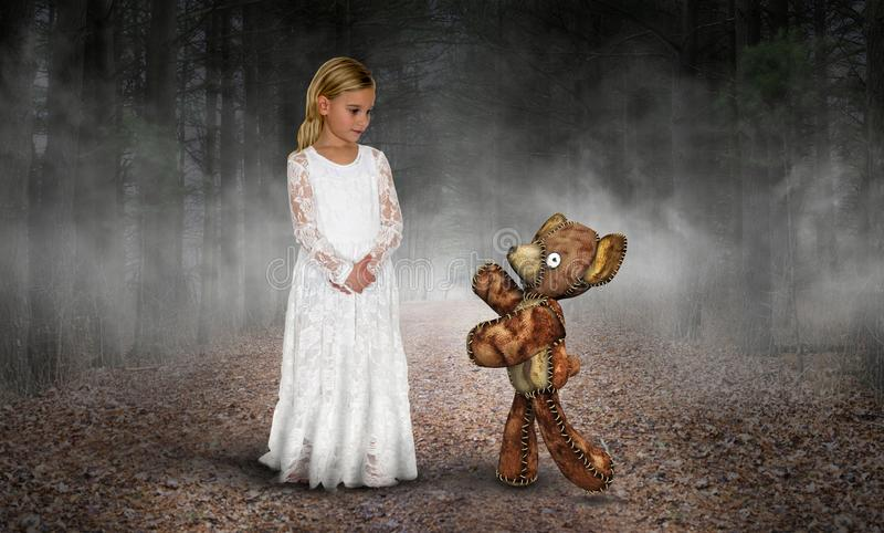 Young Girl, Love, Peace, Imagination, Teddy Bear. A young girl fantasy plays with her teddy bear toy. The stuffed animal is alive in her imagination. Abstract stock image