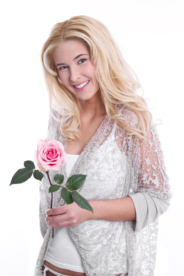 Download Young Girl In Love With A Rose Stock Photo - Image: 36099412
