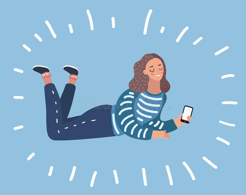 Young girl lying on pillow with smartphone, vector illustration stock illustration