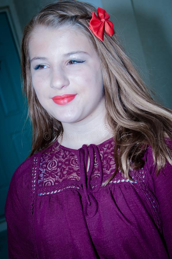 Young Girl in Makeup Staring stock images