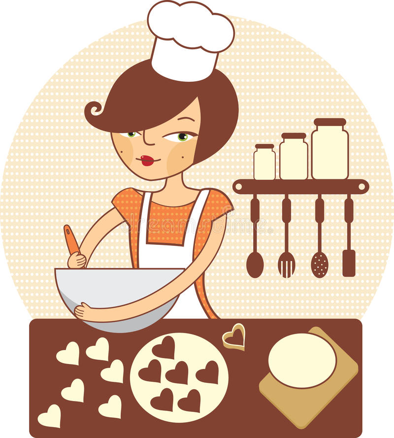 Young girl making cookies stock illustration