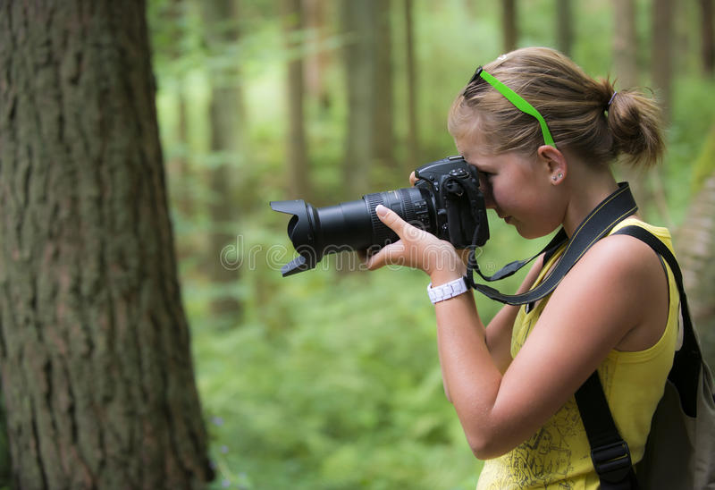 Young girl making a picture stock photos