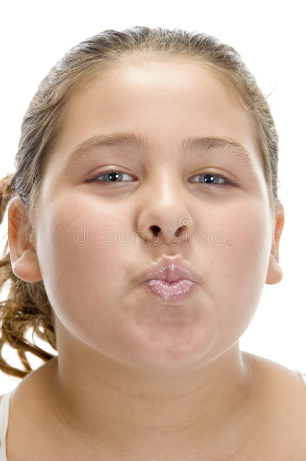 Young girl making pout mouth stock image