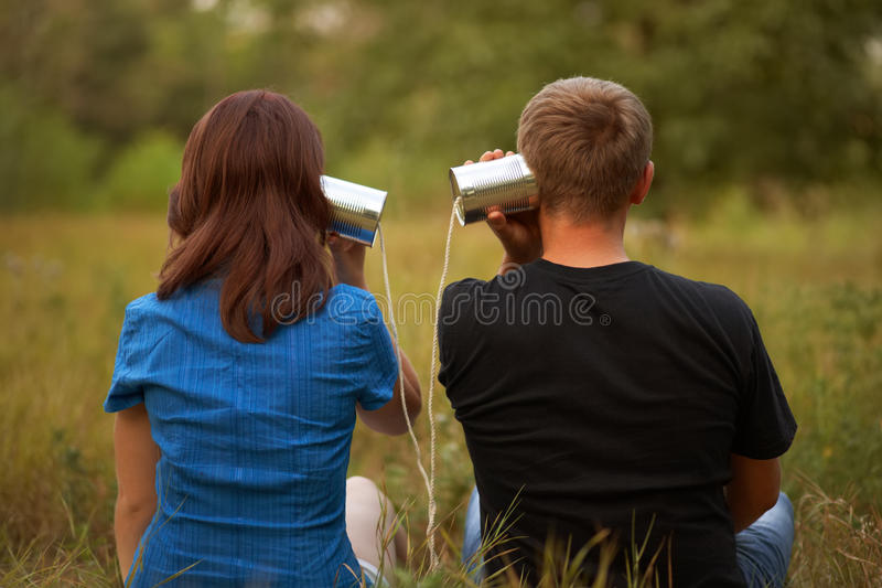 Young girl and man stock image