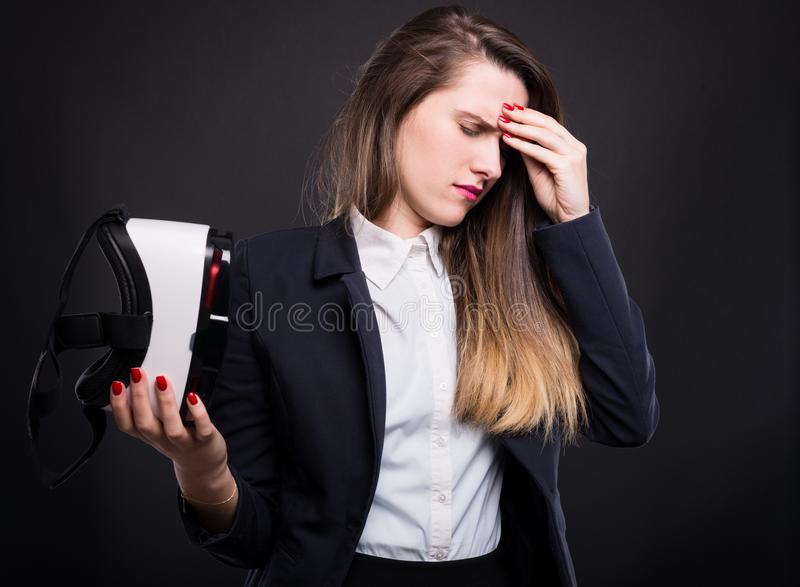 Young girl manager feeling tired royalty free stock image