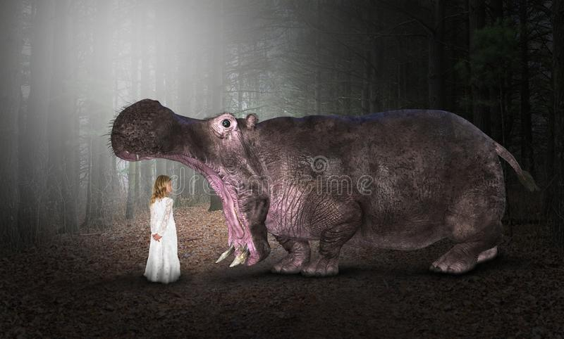 Hippo, Hippopotamus, Nature, Wildlife, Girl. A young girl meets with a hippo or hippopotamus in the deep dark woods or forest of nature. The wildlife animal is royalty free stock images