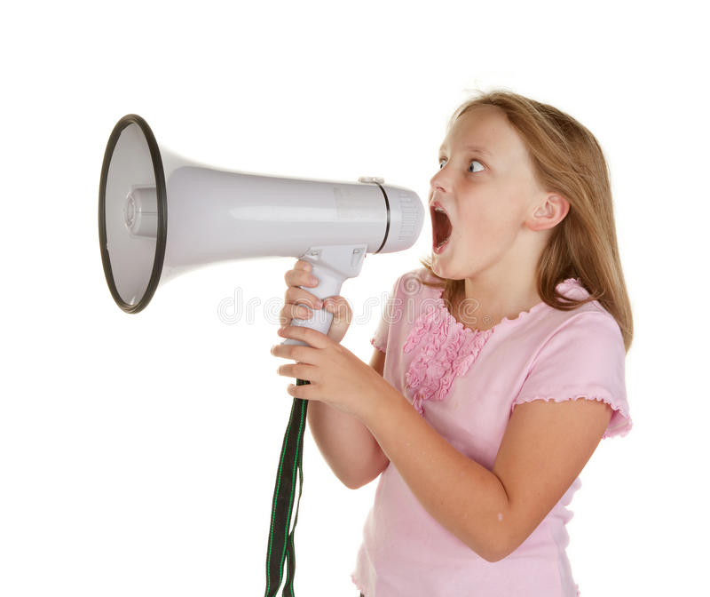 Young Girl With Megaphone Royalty Free Stock Image