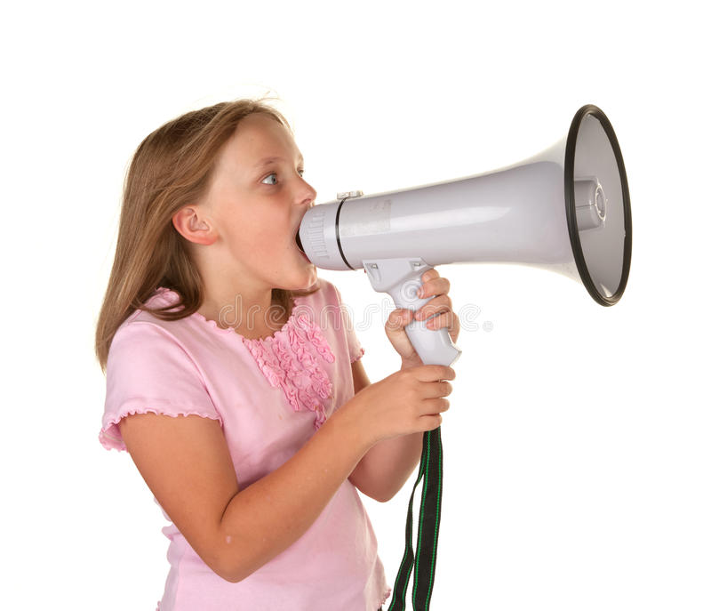 Download Young girl with megaphone stock image. Image of isolated - 13136803