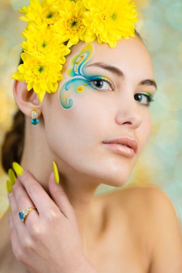 Young girl model with fantasy makeup closeup royalty free stock photos