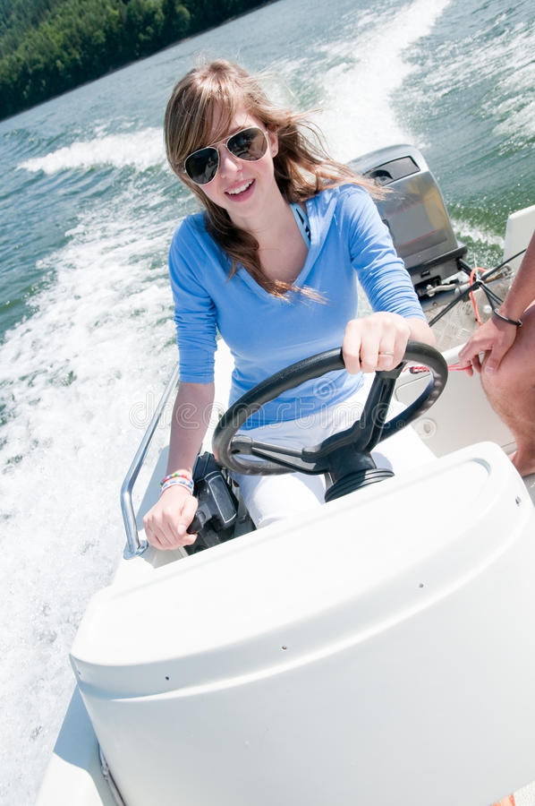 Download Young Girl On Motorboat Royalty Free Stock Images - Image: 15099969