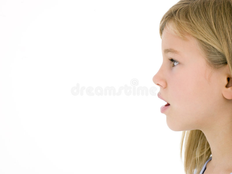 Young girl with mouth open stock images