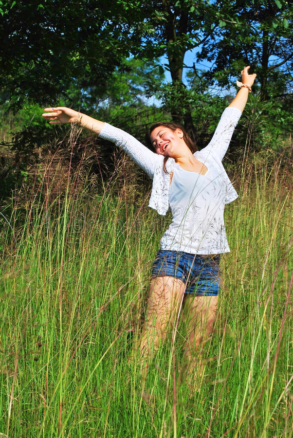 Young girl in nature stock photo