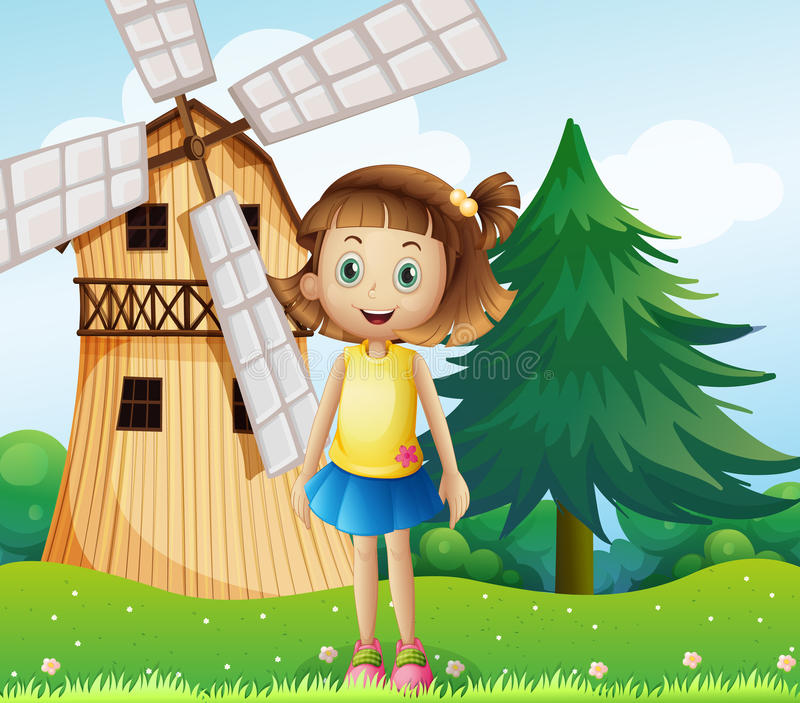 A young girl near the farmhouse with a windmill royalty free illustration
