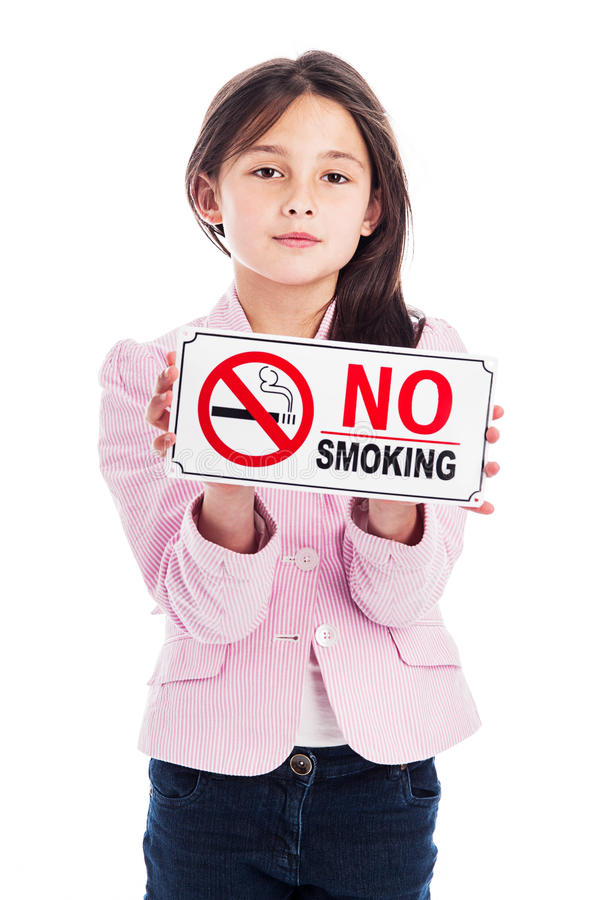 Download Young Girl With A No Smoking Sign. Stock Image - Image of background, health: 32487857
