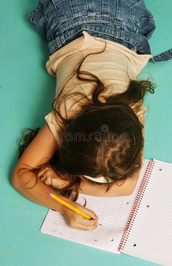 Young girl with notebook royalty free stock images