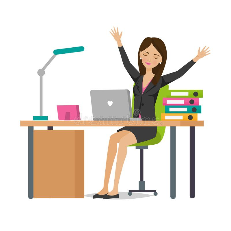 Free Young Girl Of An Office Worker Rejoices In Success, Rests. Stock Images - 101870814