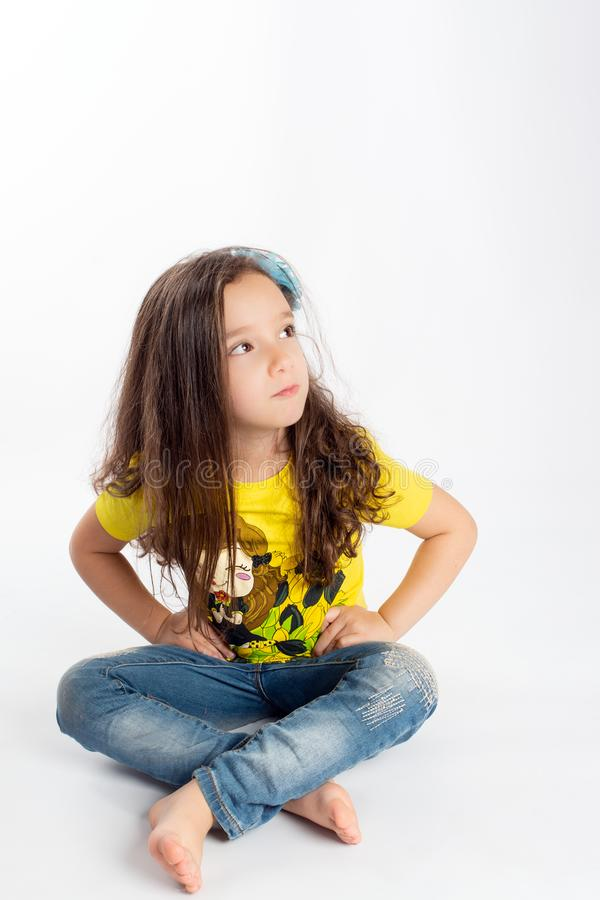 Young girl with offended expression stock images