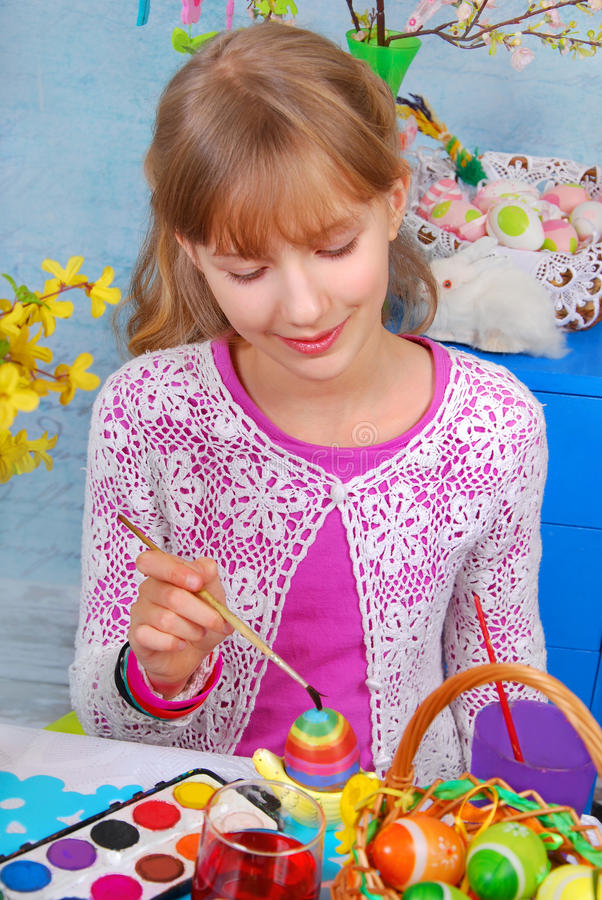 Download Young Girl  Painting Easter Eggs Stock Photo - Image: 29460568