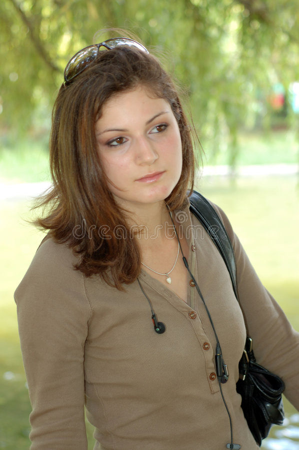 Young girl in park stock photography