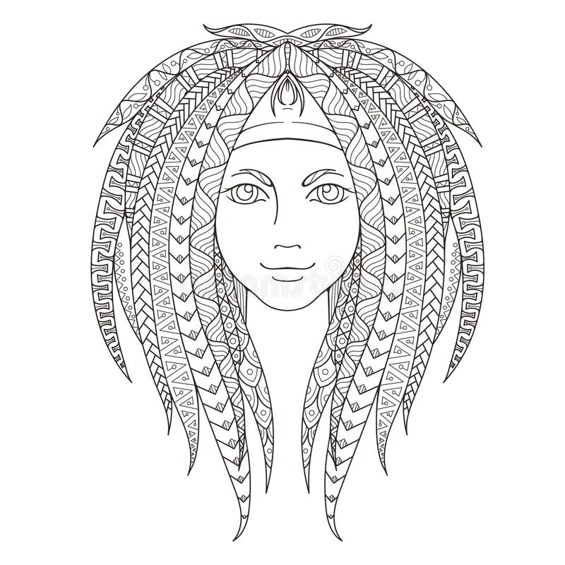 Young Girl With Patterned Zentangle Dreadlocks. Page For Stock ...