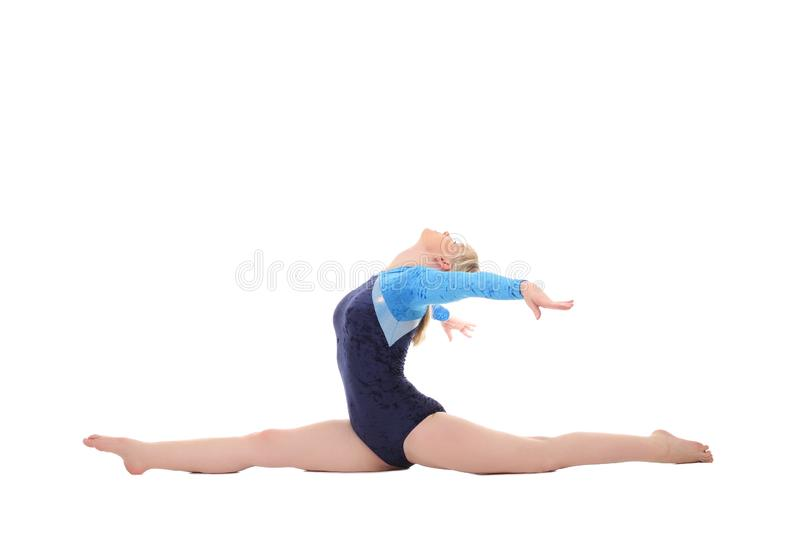 Girl performs gymnastic exercises. Young girl performs gymnastic exercises royalty free stock photos