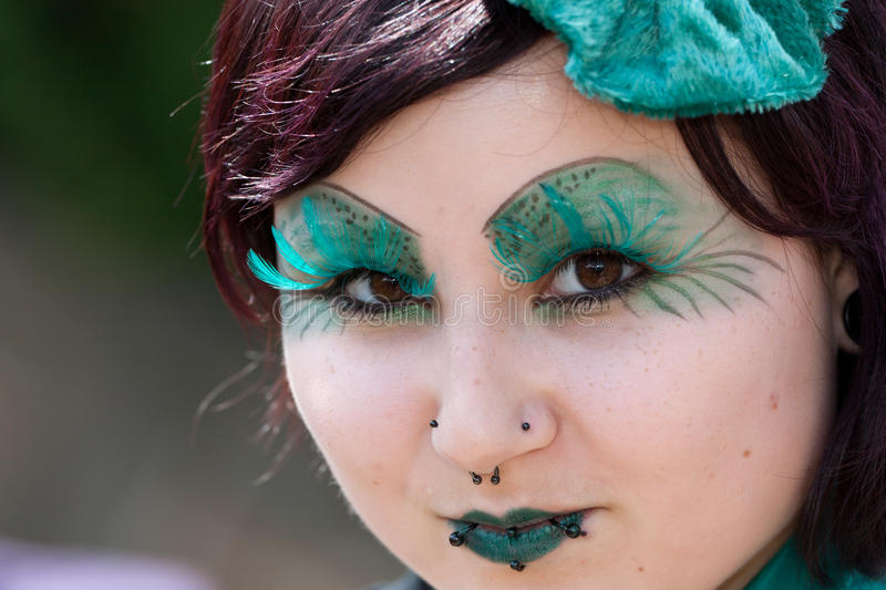 Young girl with piercing at Wave-Gotik-Treffen stock photo