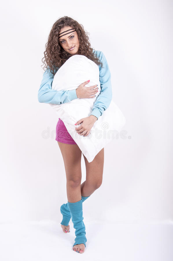 Young girl with pillow