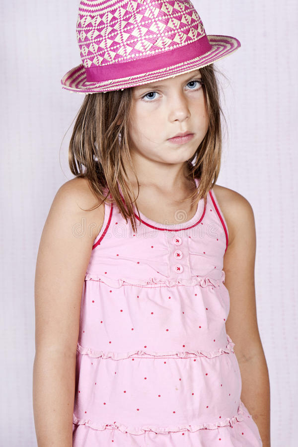Young Girl in Pink stock images