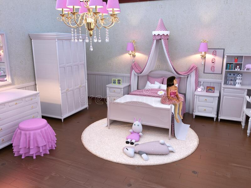 Young Girl, Pink Bedroom, Ballerina royaltyfria bilder