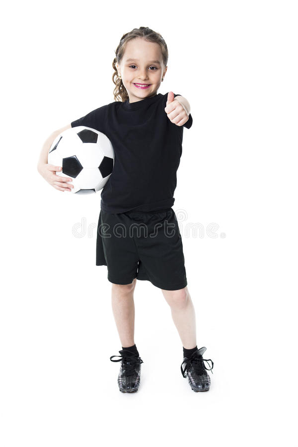 Young girl play soccer ball, Isolated over white stock images