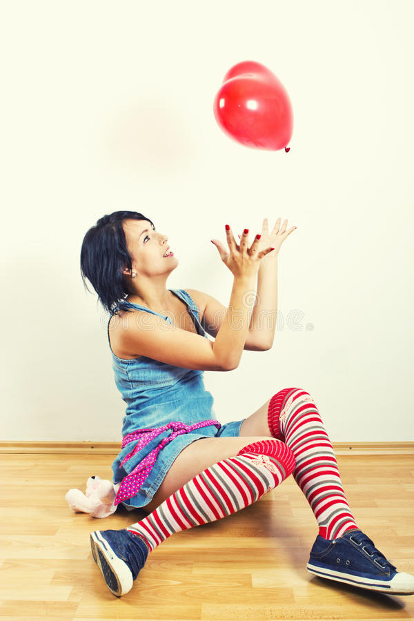 Download Young Girl Playing With Balloon Stock Image - Image: 21657899