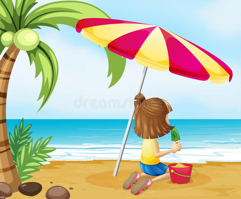 A young girl playing with the castle at the beach. Illustration of a young girl playing with the castle at the beach vector illustration
