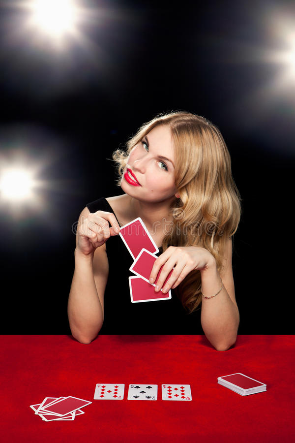 Young girl playing in the gambling royalty free stock images