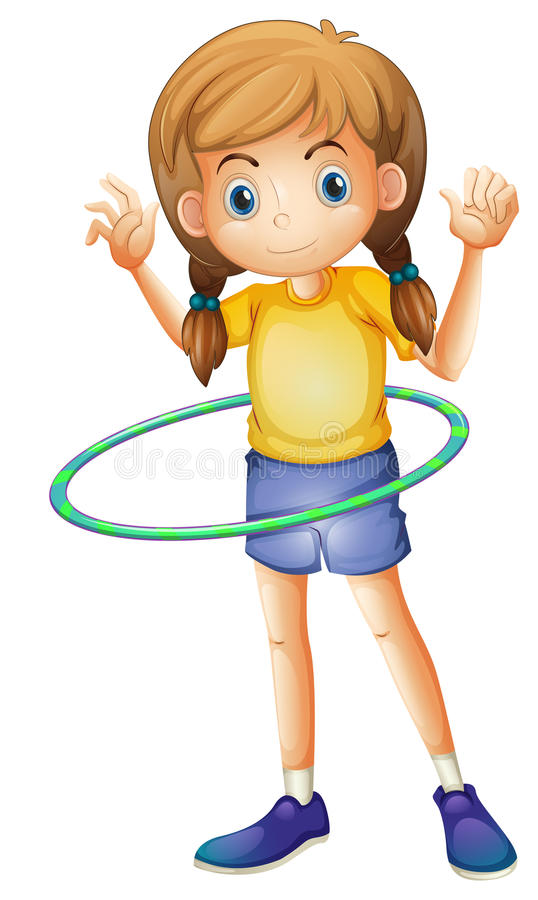 A young girl playing with the hulahoop stock illustration