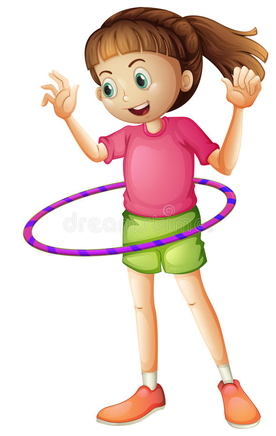 A young girl playing hulahoop royalty free illustration