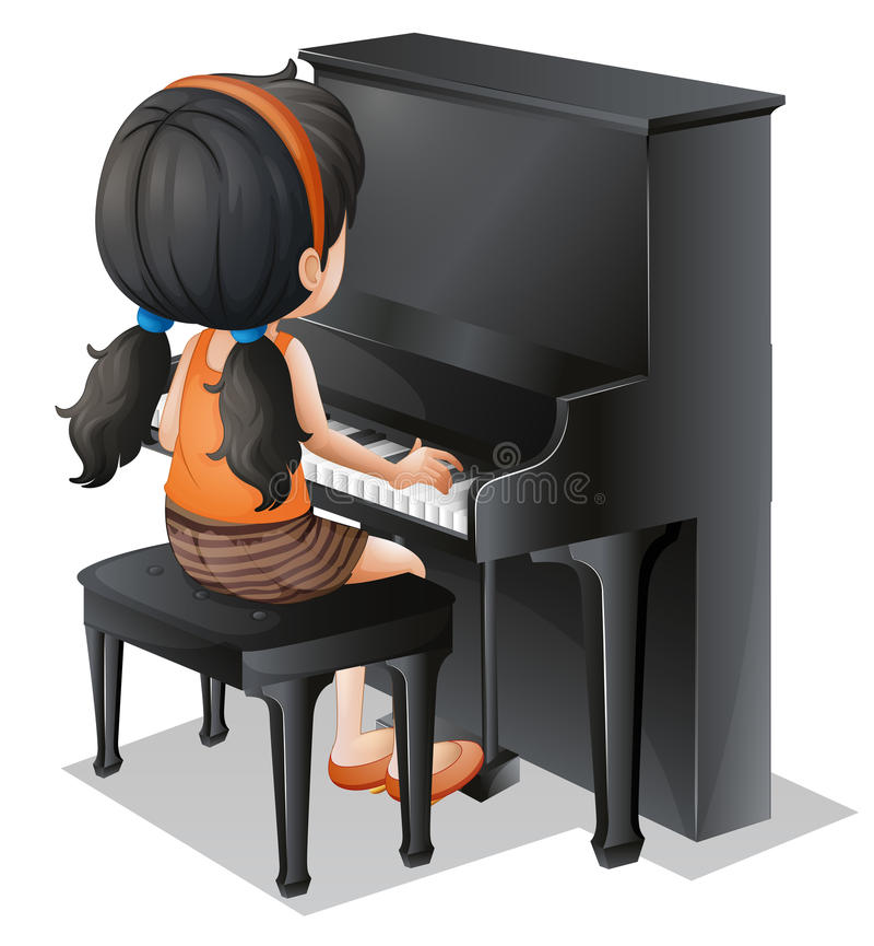 A young girl playing with the piano vector illustration