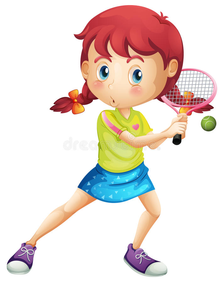A young girl playing tennis stock illustration