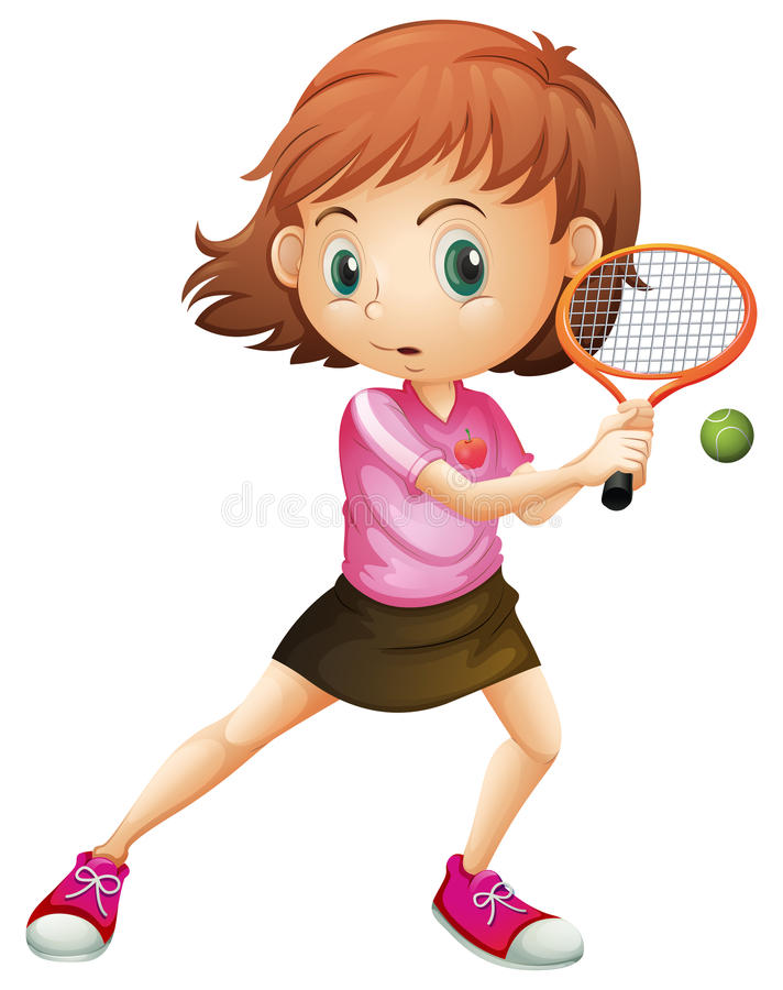 A young girl playing tennis vector illustration