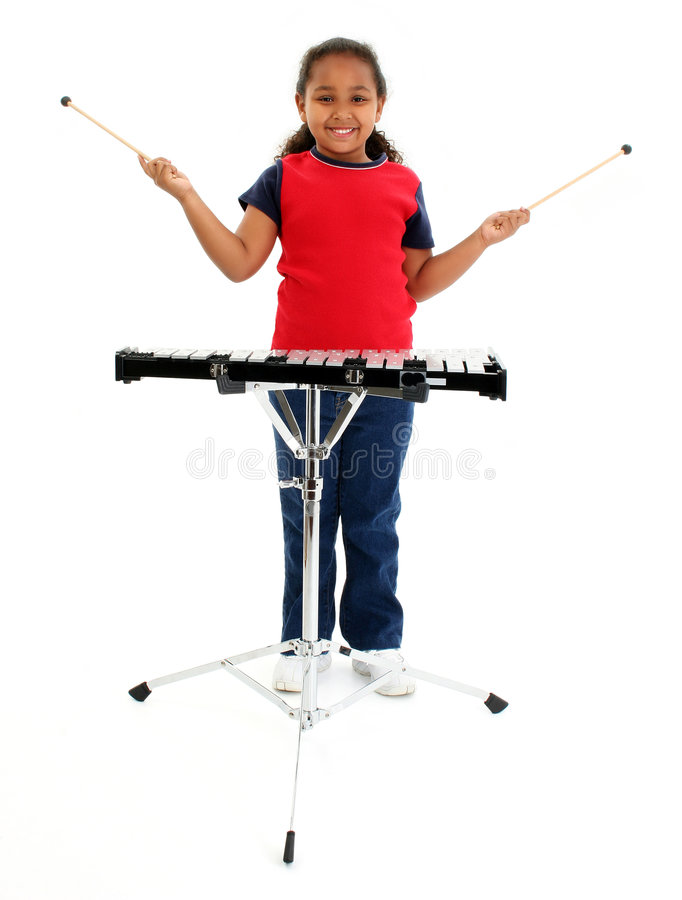 Download Young Girl Playing Xylophone Stock Image - Image: 507021