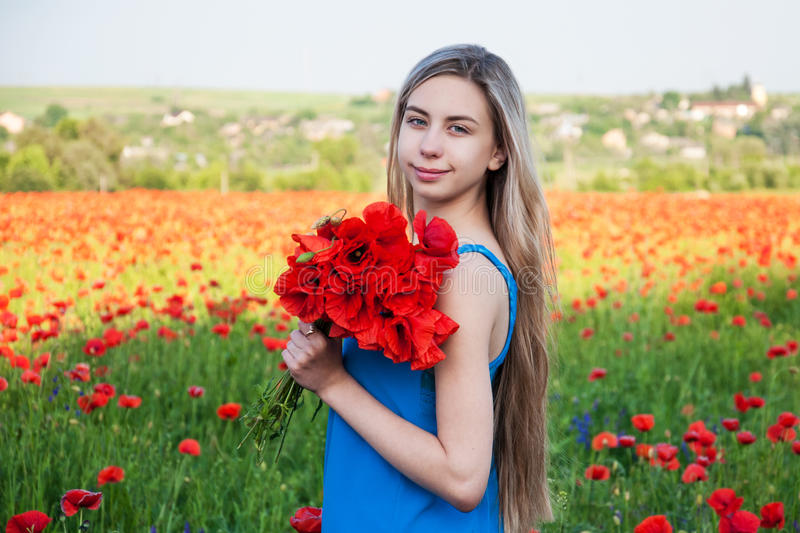 Young girl in the poppy field stock photography