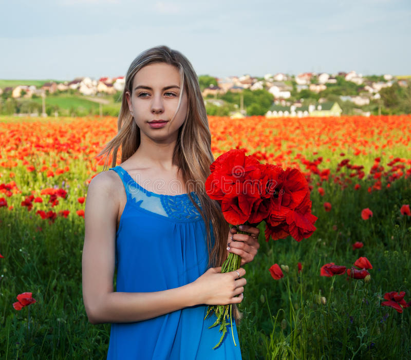 Young girl in the poppy field. Beautiful young girl in the poppy field stock image