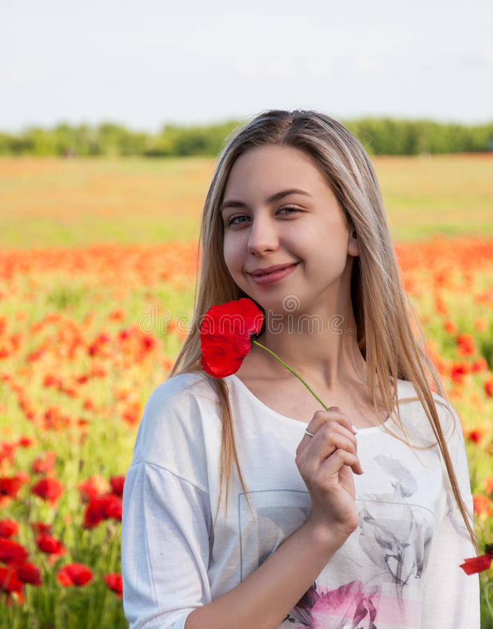 Young girl in the poppy field. Beautiful young girl in the poppy field royalty free stock image