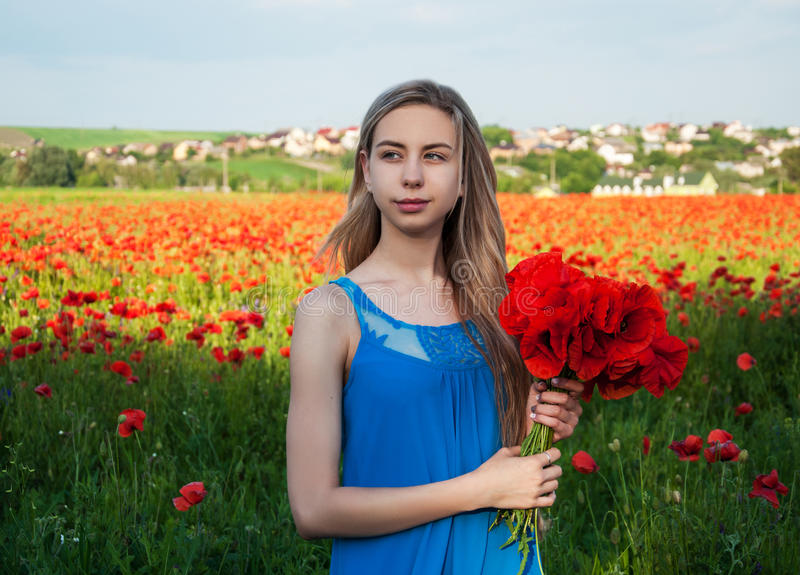 Young girl in the poppy field. Beautiful young girl in the poppy field stock photo
