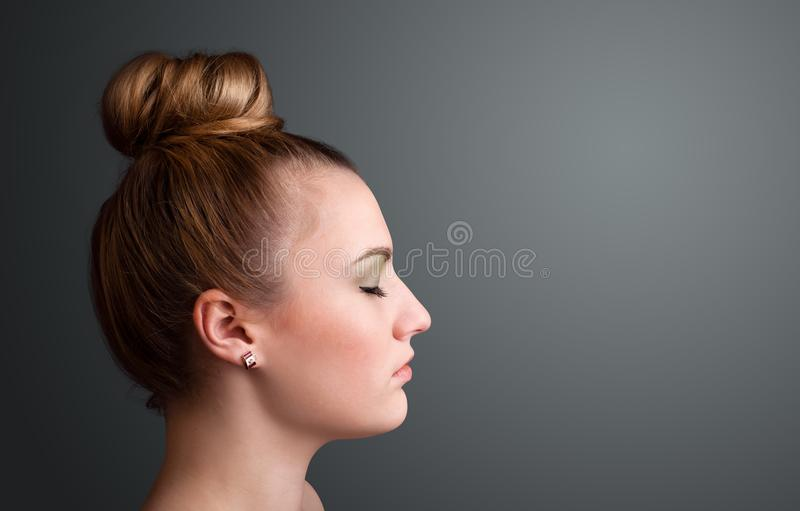 Young girl portrait thinking with copyspace stock image