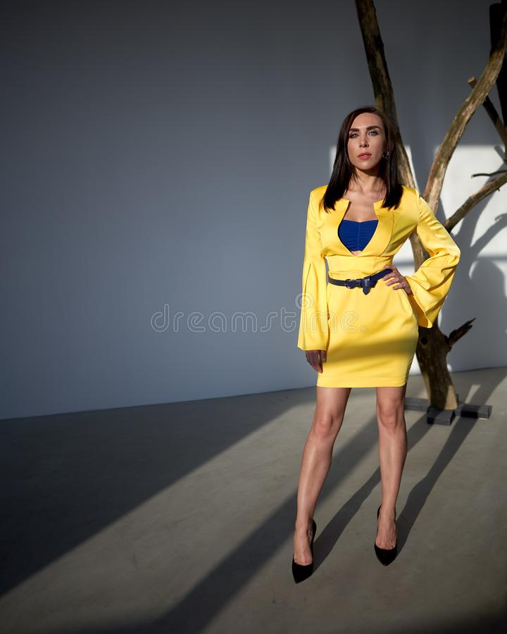 Fashionable young model in design clothes. Studio photo royalty free stock image