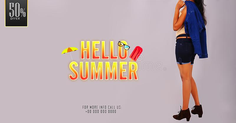 `Hello Summer` Young girl posing on summer sale promotional banner templates. stock photos