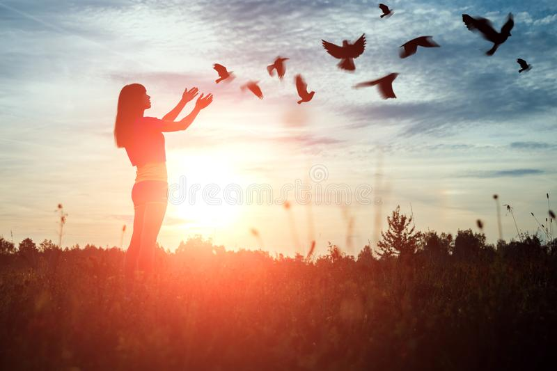 A young girl prays while enjoying nature amidst a beautiful sunset. The concept of hope, faith, religion. A flock of birds flies,. A symbol of hope and freedom stock photo