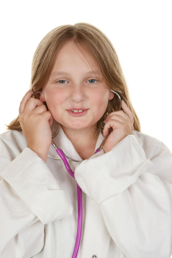 Young Girl Pretending To Be A Doctor Stock Images